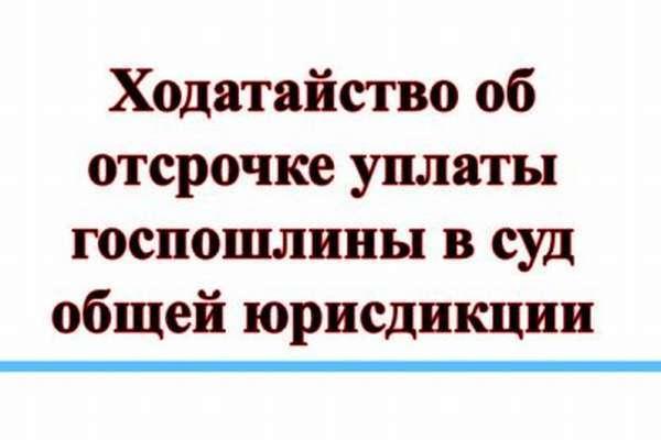 Об отсрочке уплаты госпошлины в суды общей юрисдикции: заявление на рассрочку