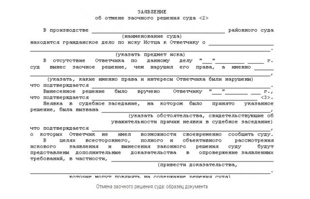 Заявления об отмене заочных решений суда по гражданским делам: образец жалобы