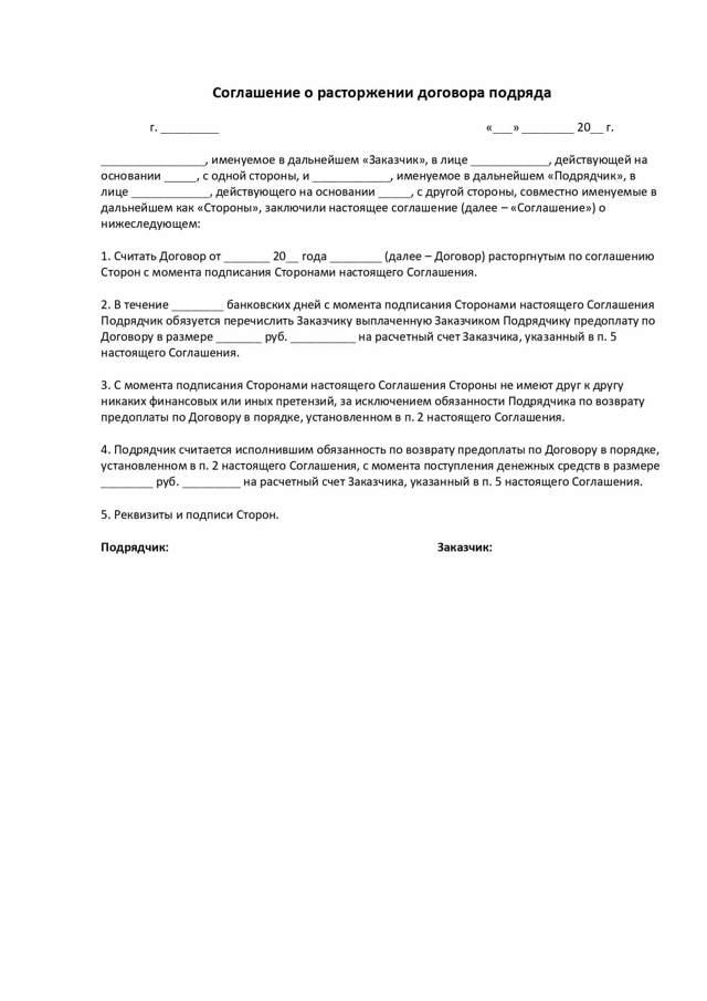 Расторжение договоров по соглашению сторон: образец как оформить, причины