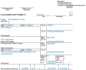 Оплата штрафа в ИФНС, образец платежного поручения в 2020 на уплату штрафов