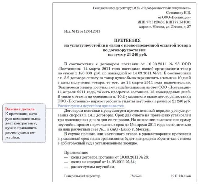 О претензиях по договорах поставки: образец при нарушении срока оплаты товара
